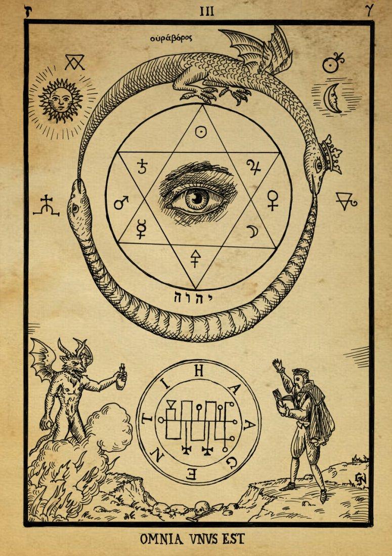 Alchemical ouroboros hexagram