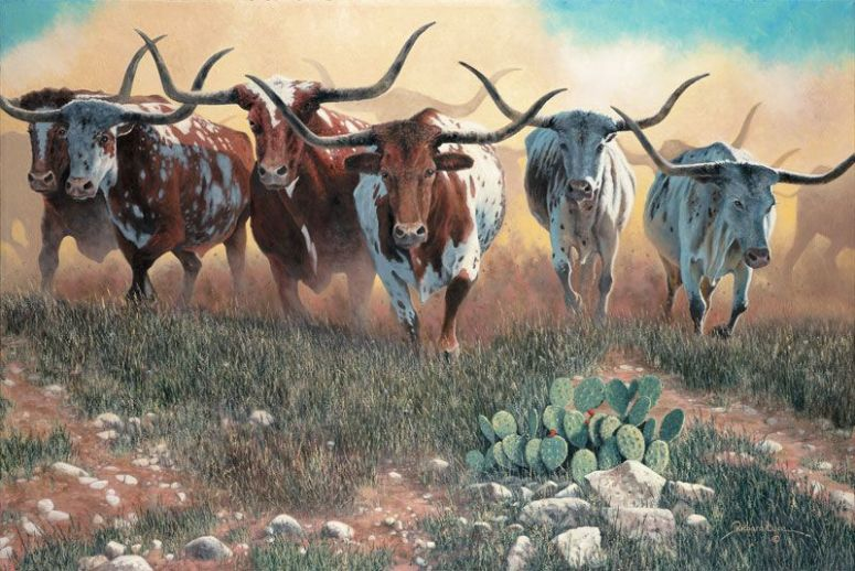 longhorn cattle painting